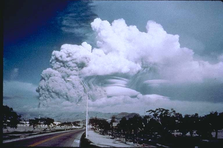 Mount Pinatubo's eruption, as seen from Clark Air Base.