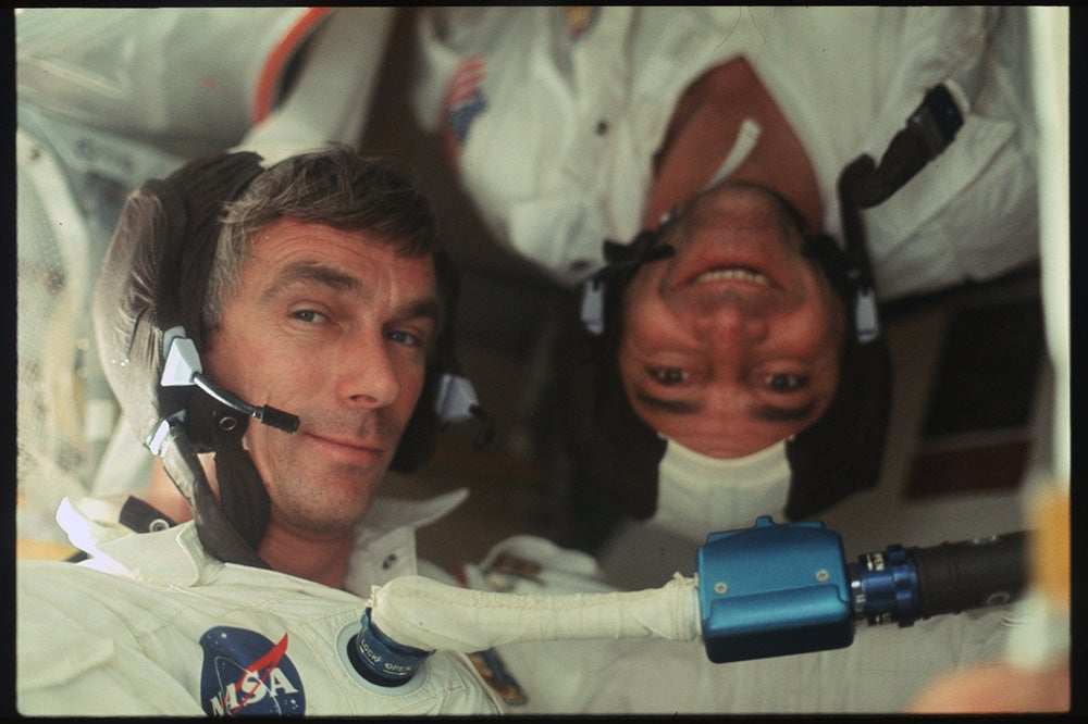 Two astronauts hanging out