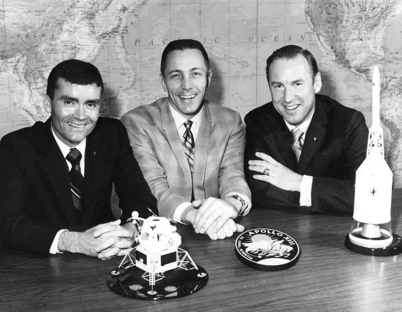 The Apollo 13 crew the day before launch