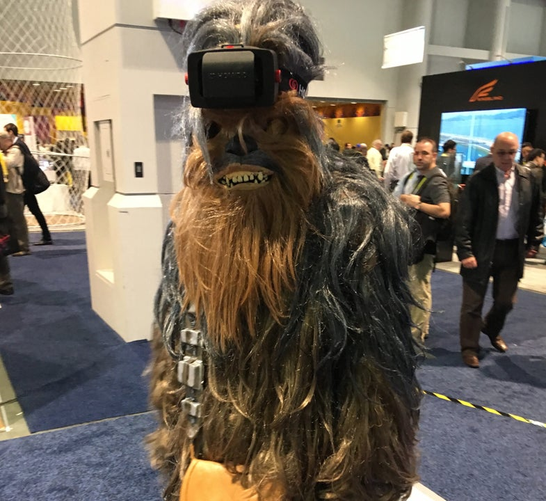 Chewbacca wearing a VR headset at CES 2016