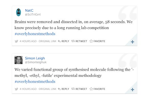 #OverlyHonestMethods Hashtag Reveals How Science Is Really Done