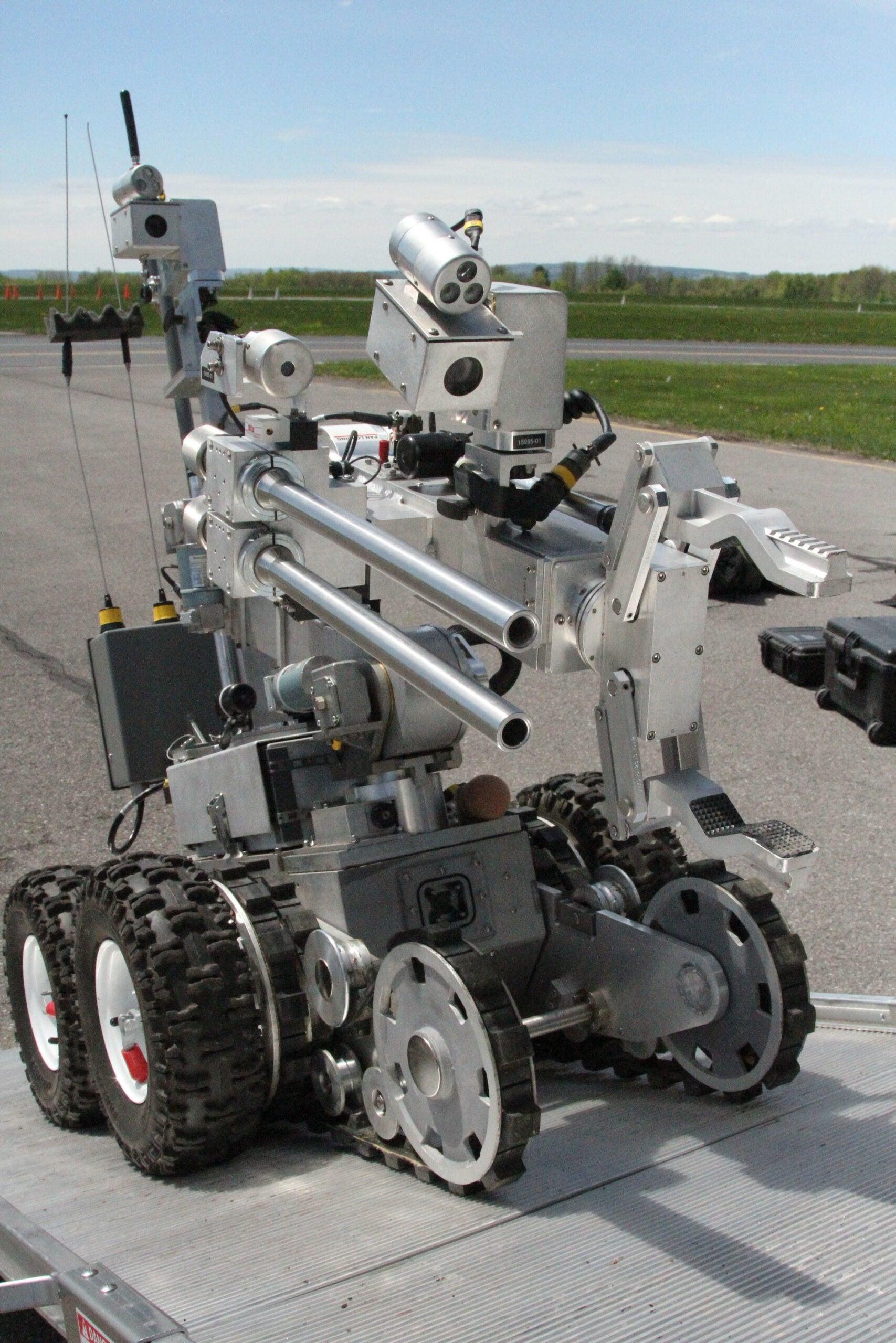 Bomb Squad Robot Drives Up Ramp