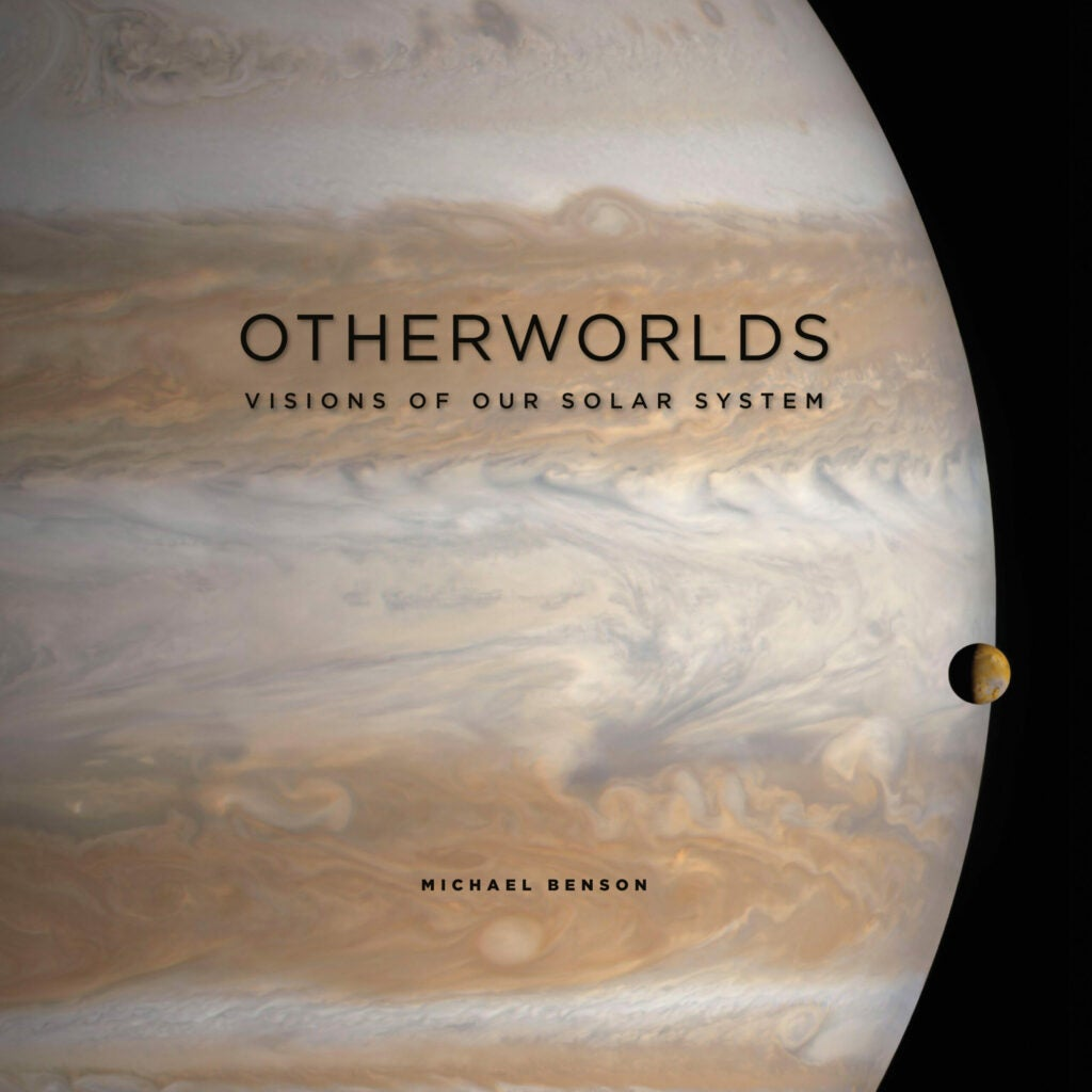 cover page of otherworlds featuring jupiter and one moon