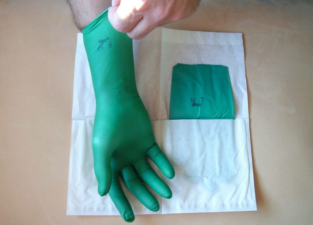 Surgical gloves are among the disposable items used in surgery.