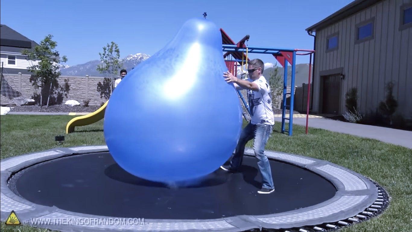 Liquid nitrogen in giant balloons.