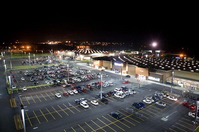 Walmart exterior supercenter parking lot big box store