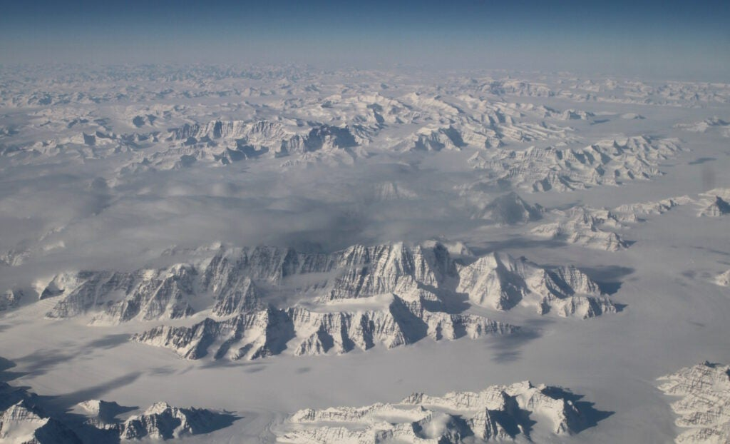 Greenland's ice sheet from 40,000 feet.