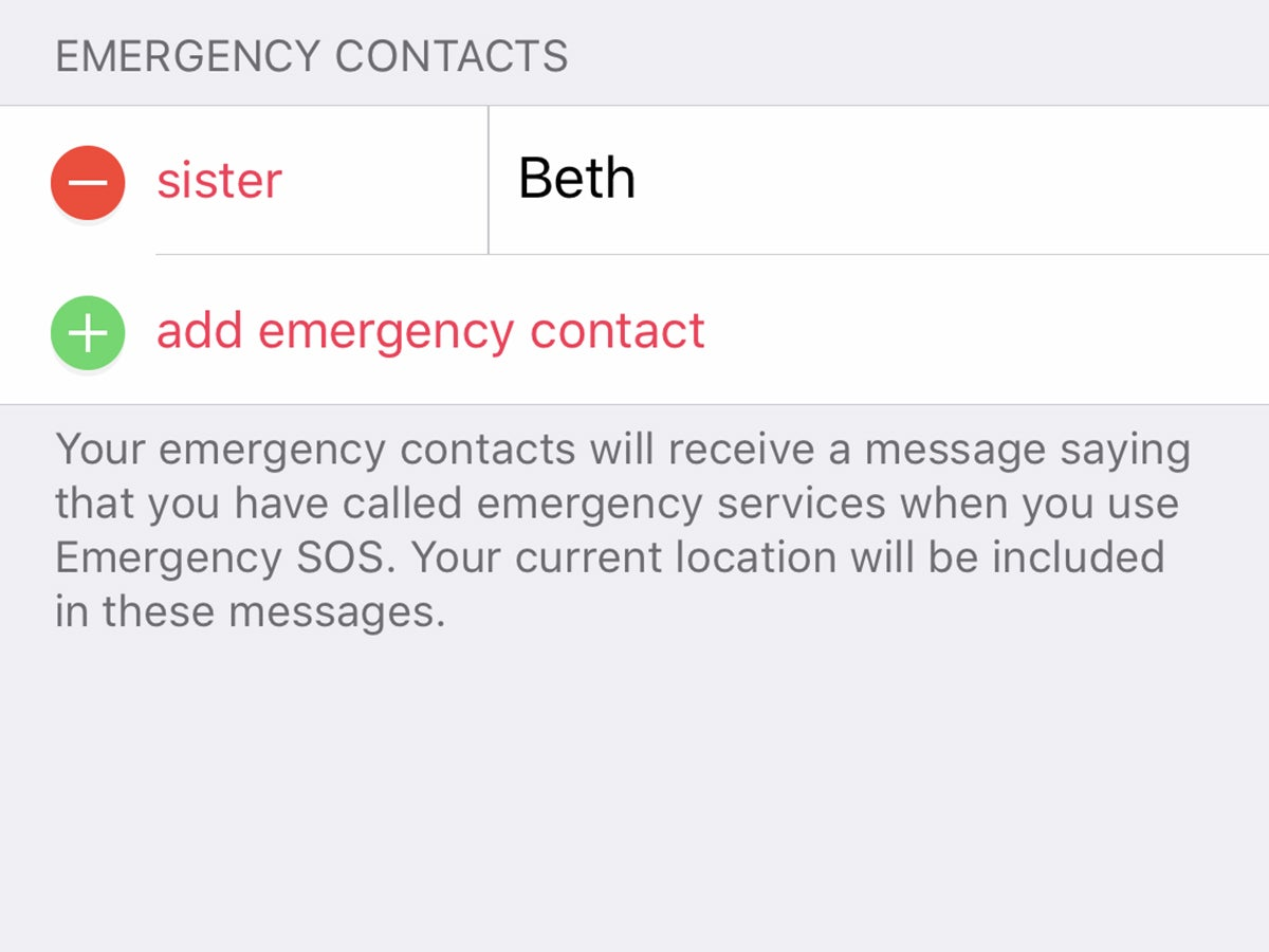 The iOS settings screen for emergency contacts.