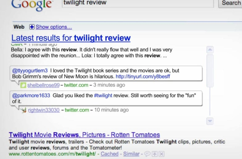 Revamped Google Search Pulls In Real-Time News Updates From Twitter, Blogs