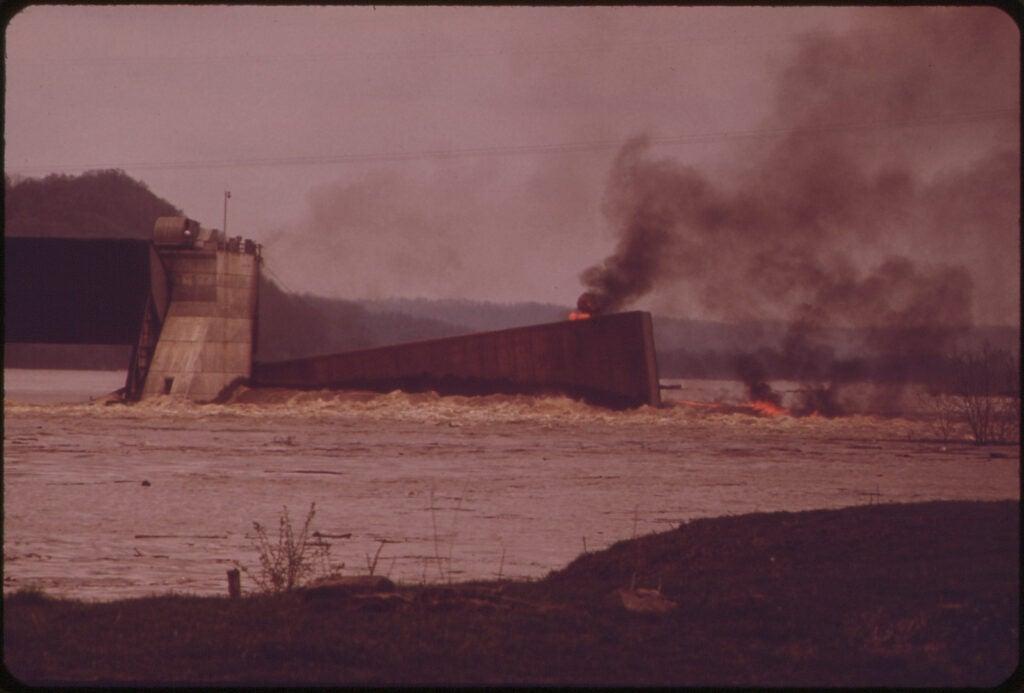 burning barge