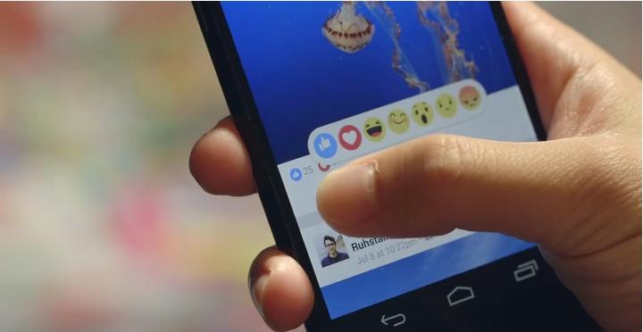 Screenshot of Facebook's Reactions feature