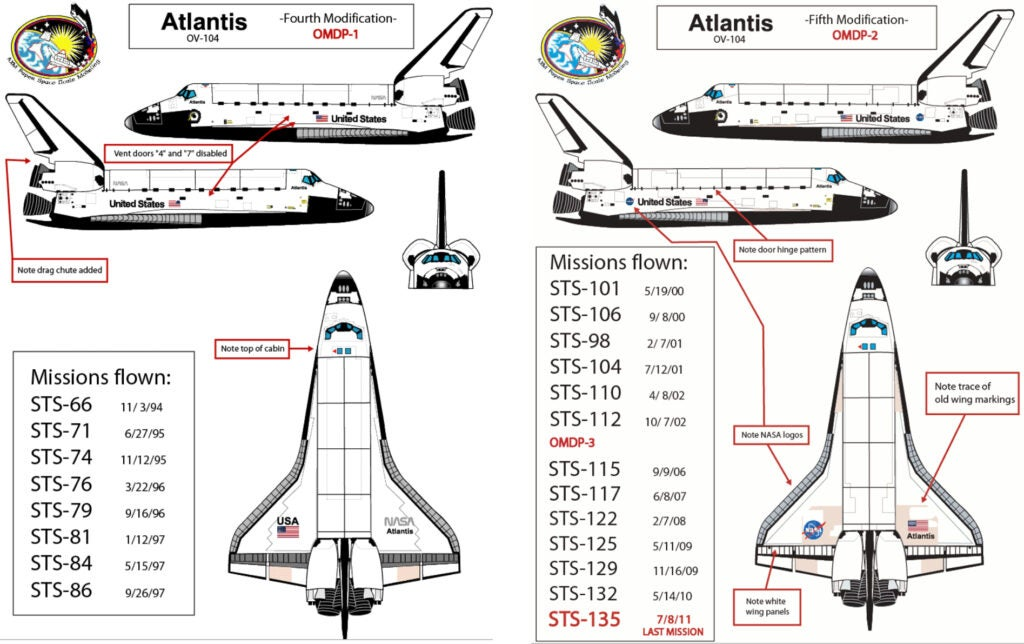The difference between the fourth and fifth modification of the Atlantis shuttle can be seen in the transition away from black tiles at the bottom of the spacecraft.