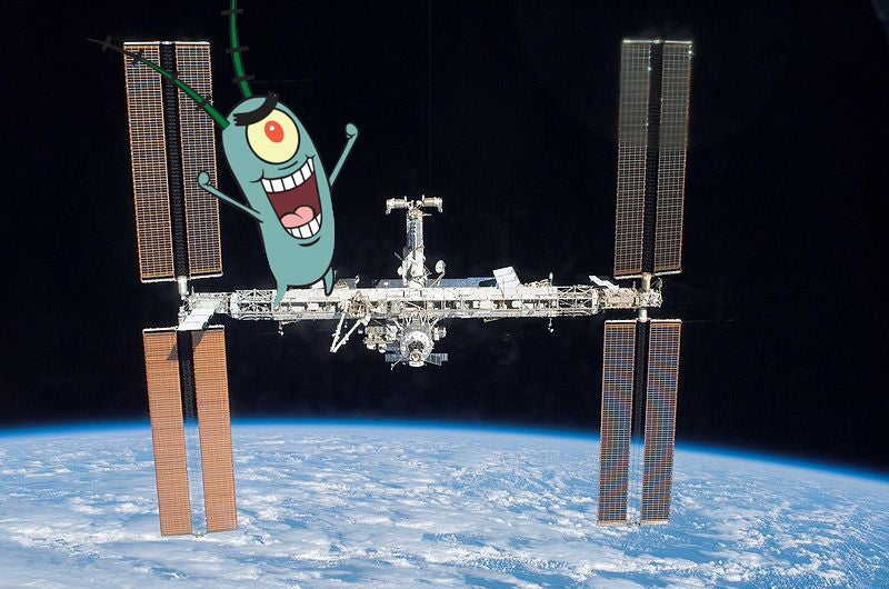 Plankton cartoon character stands on international space station
