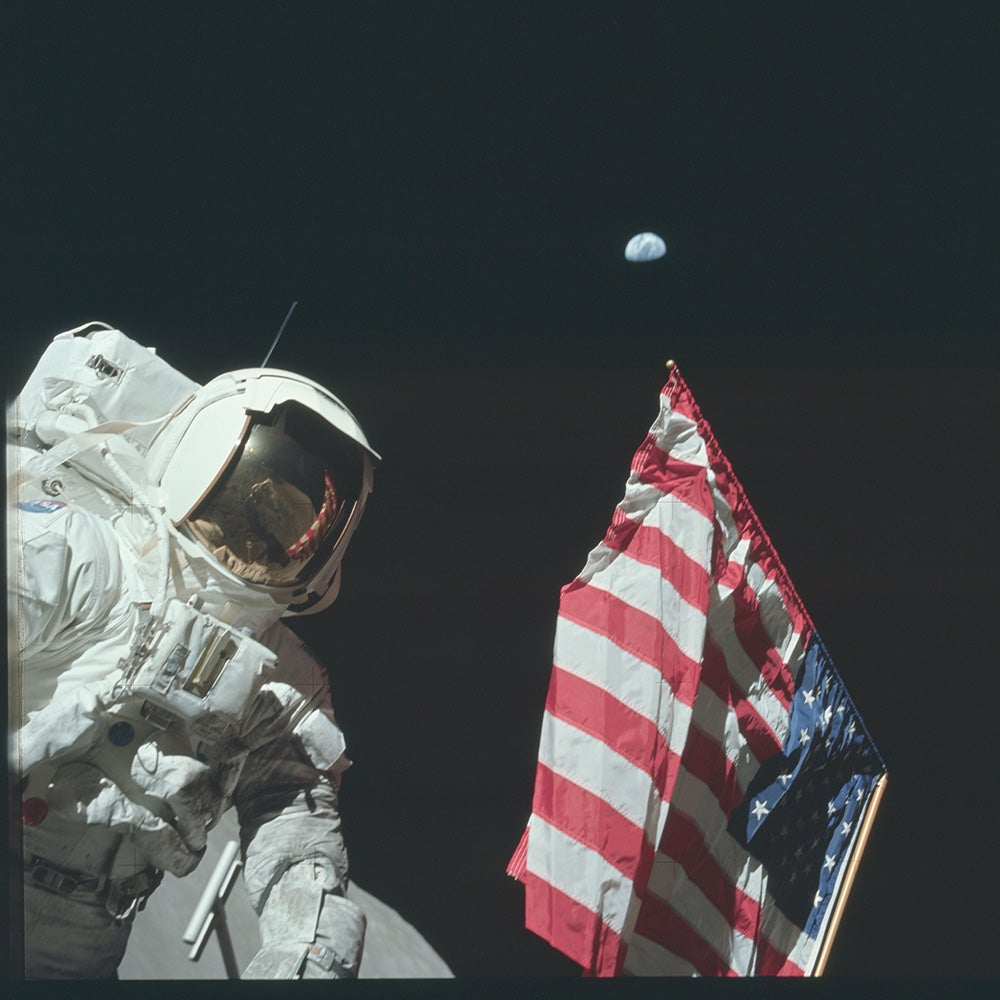 astronaut with the american flag
