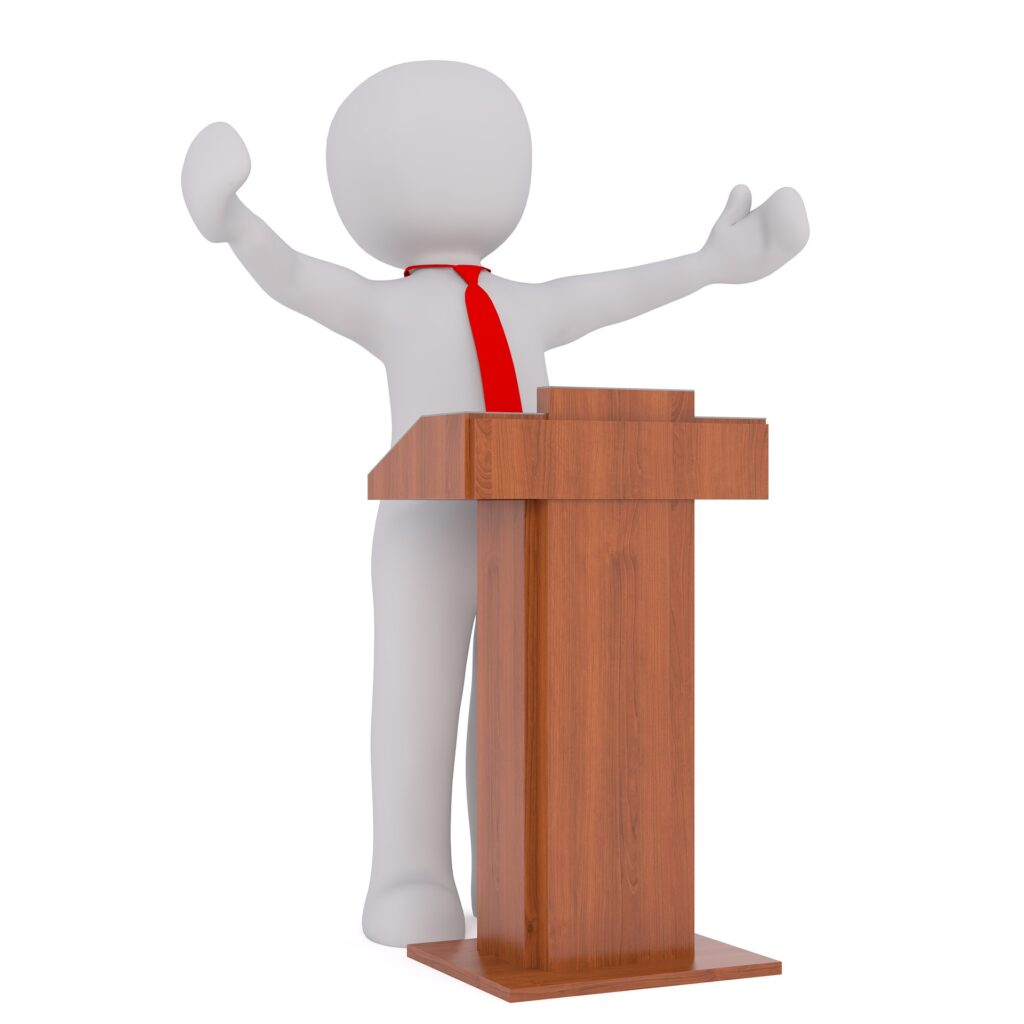 politician at lectern