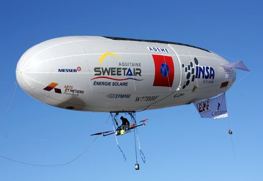 Nephelios, a Manned Solar-Powered Blimp, Prepares To Cross the English Channel