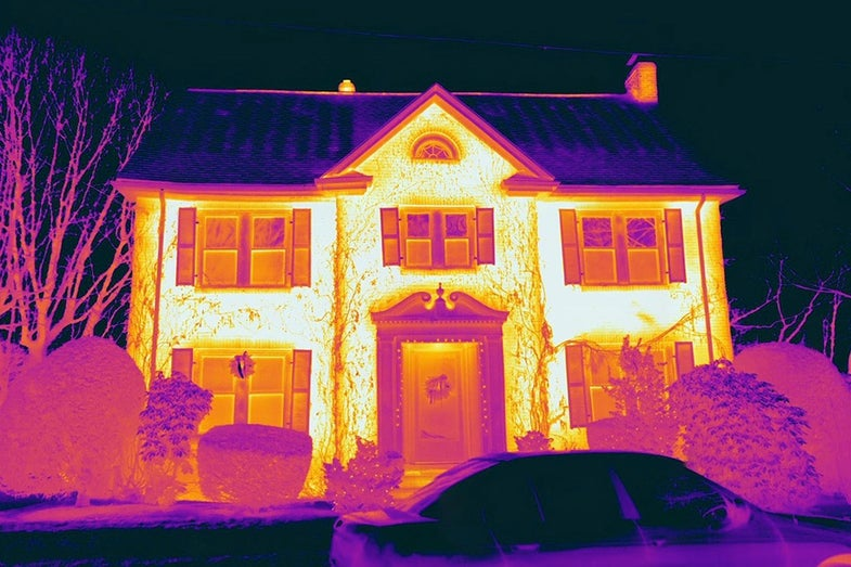 thermal image of a house showing which parts of the house are warmer than others