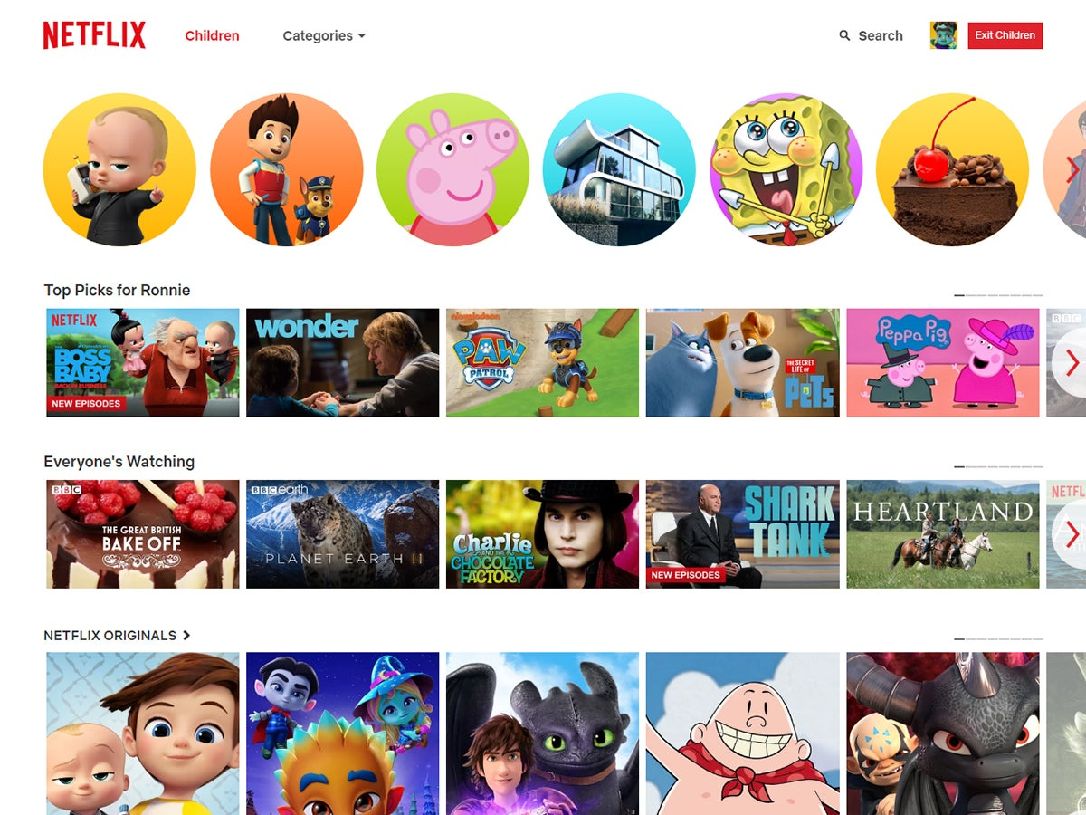 What you may see when you sign into Netflix for Kids.