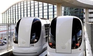 Driverless Pod Cars Transport Passengers Around London's Heathrow Airport