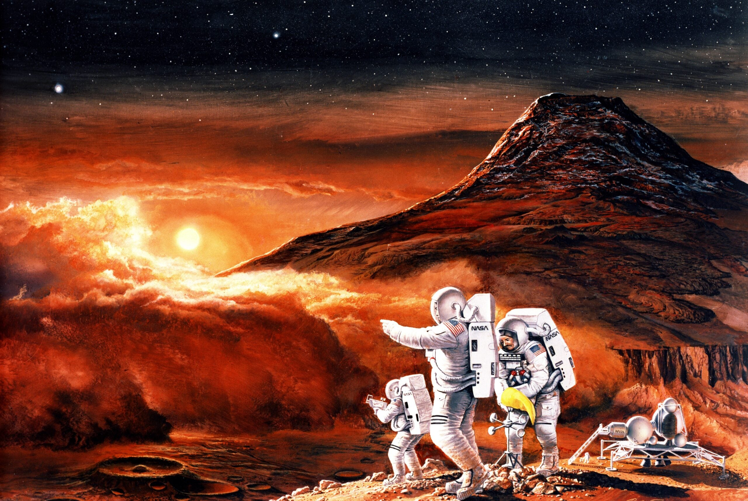 Concept drawing of the first human explorers on Mars