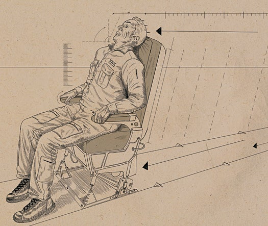 man sitting in an airplane seat under linear acceleration