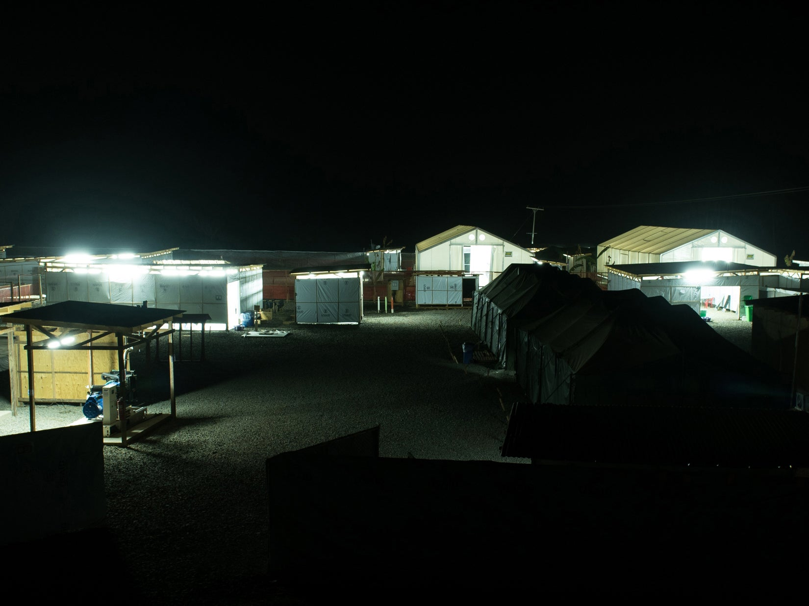 View of an Ebola treatment unit in Liberia, at night