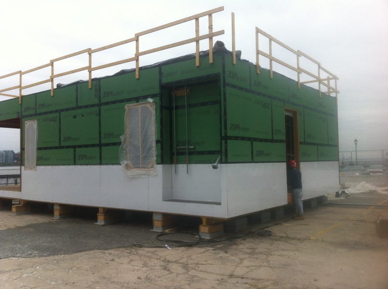 completed installation of a flood proof wall