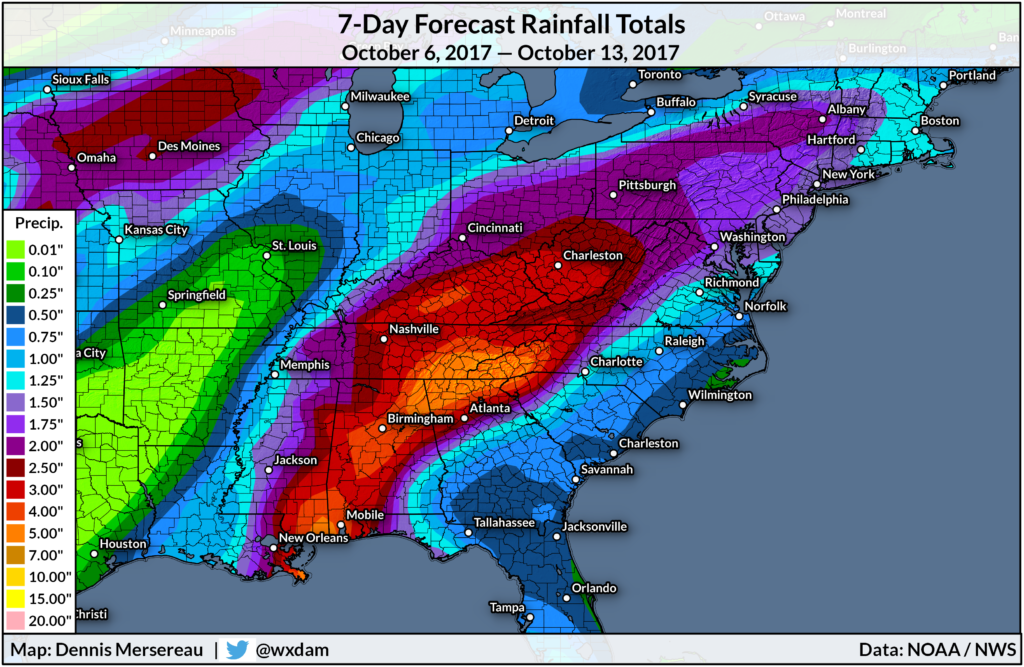 The seven-day rainfall forecast for Tropical Storm Nate.