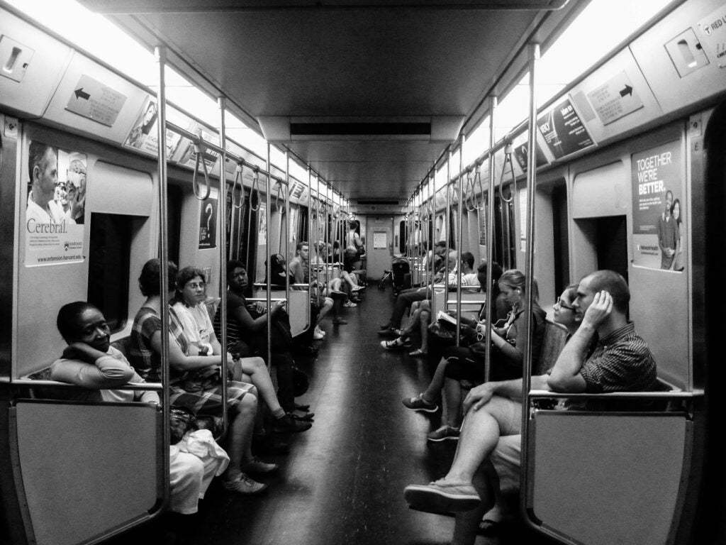Boston train car with riders