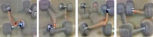 Google's artificial neural network's take on a what dumbbells looks like.