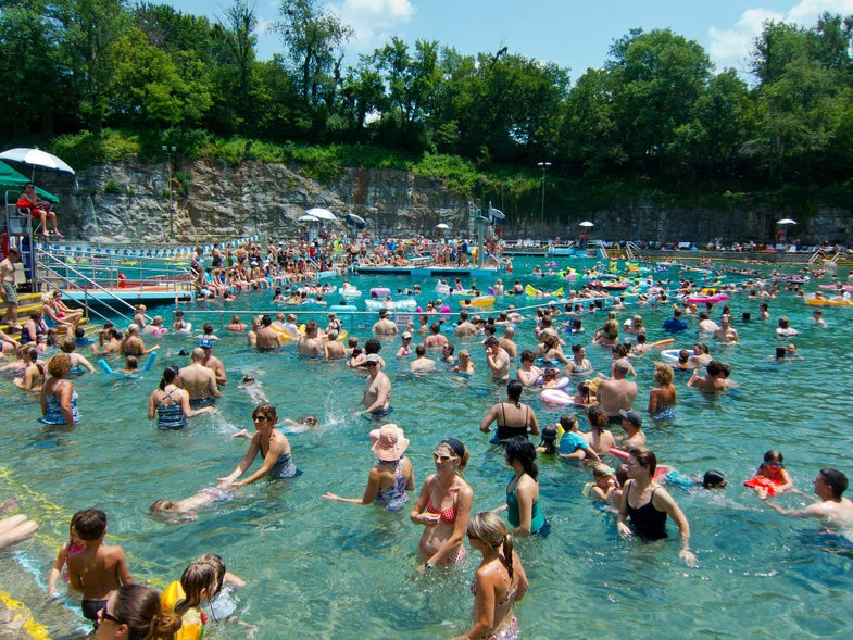 crowd in swimming pool