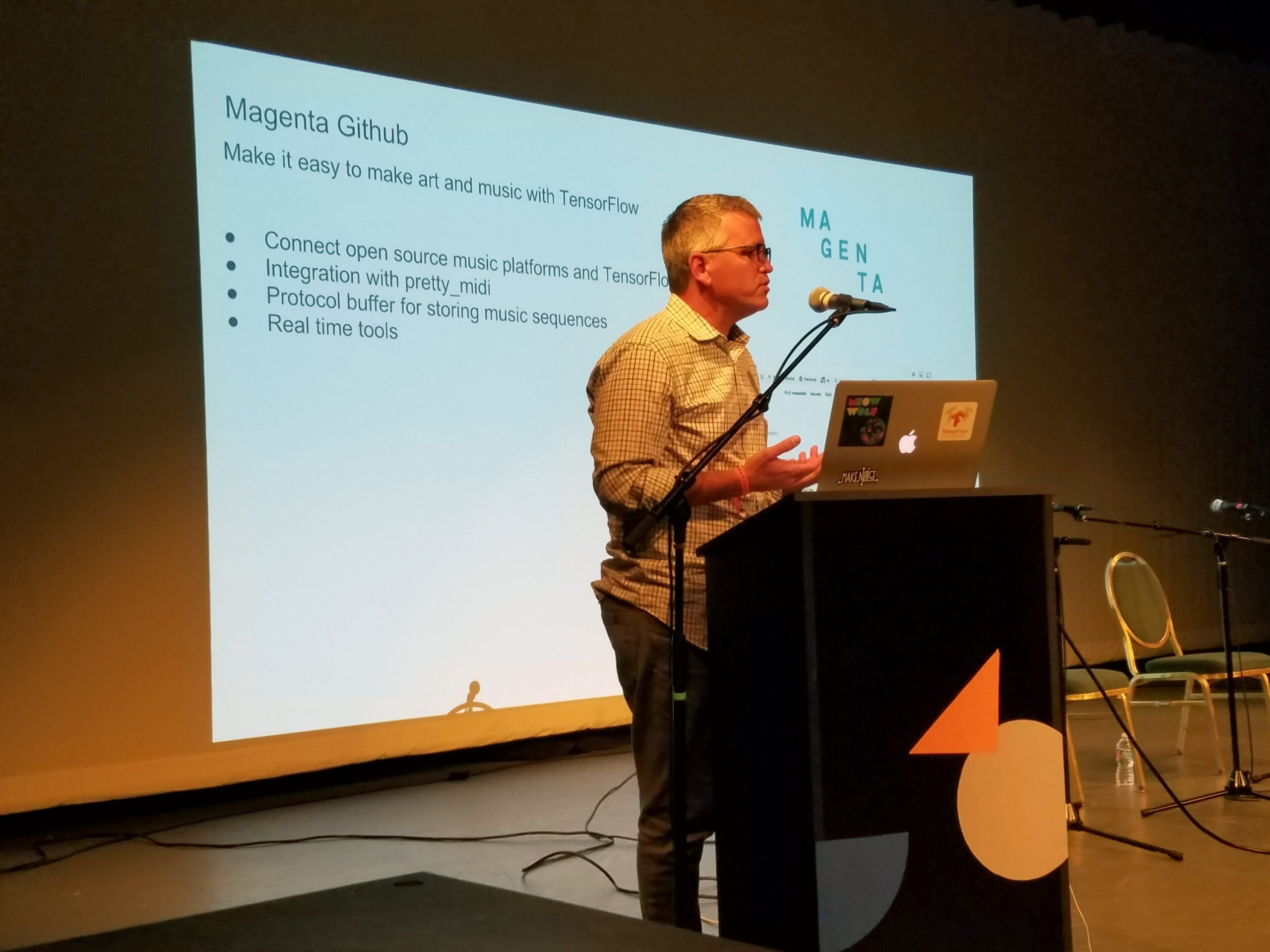 Douglas Eck, a researcher at Google, talks about Magenta during at panel at Moogfest.