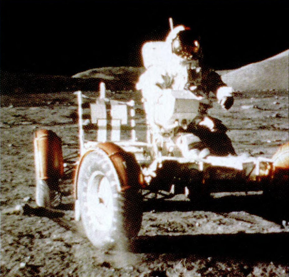 Apollo 17 astronauts use the lunar rover