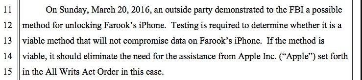 Text from the FBI's motion to postpone the iPhone hearings.