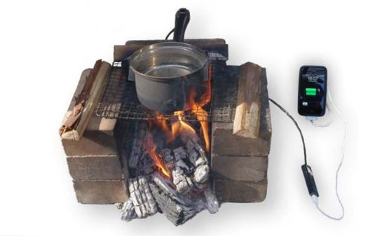 Outdoorsy Japanese Cooking Pot Charges Phones Over a Campfire