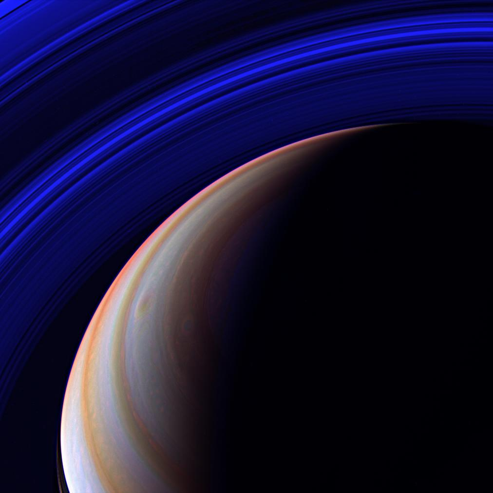 saturn with blue rings