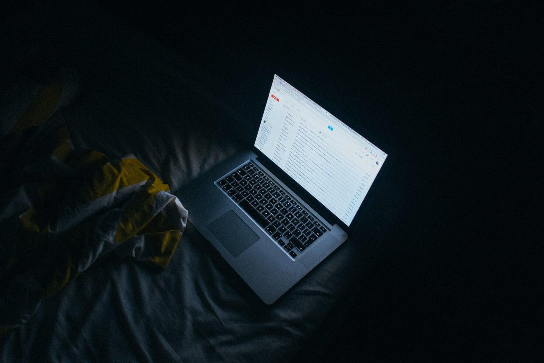 A laptop in the dark