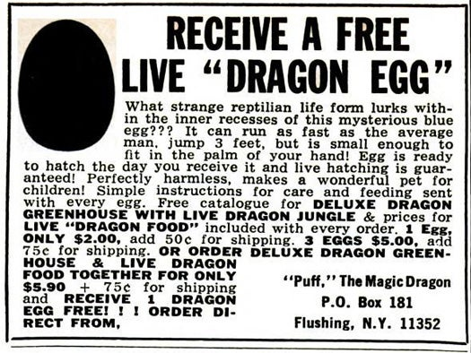 Free Dragon Eggs, October 1969