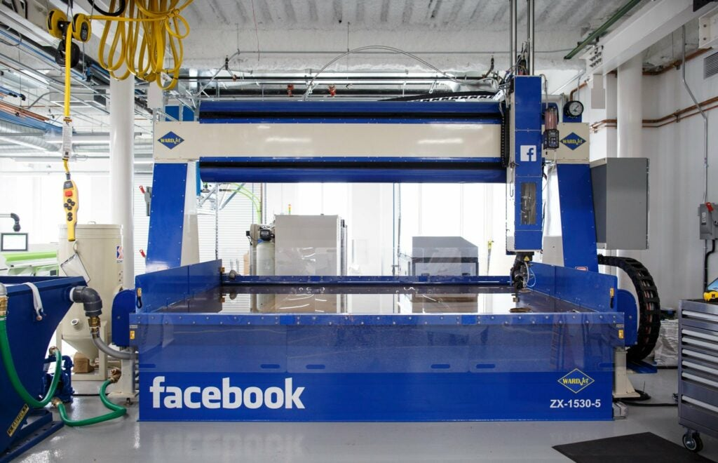 Facebook's new water jet is used to cut steel, at 60,000 psi.