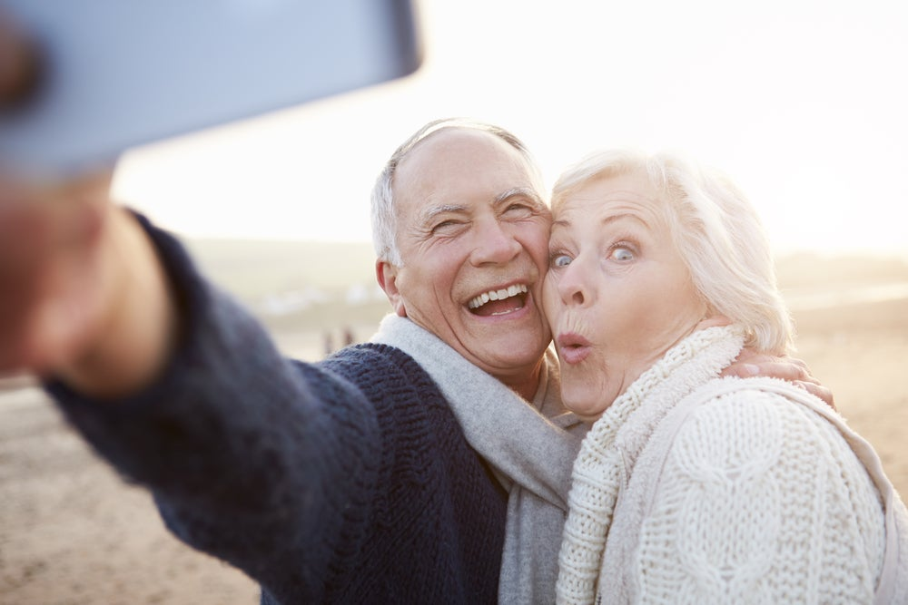senior couple selfie