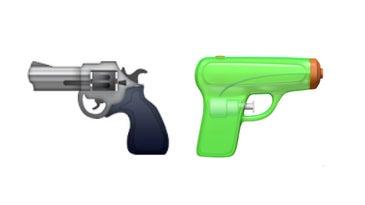 Apple's gun emoji side-by-side