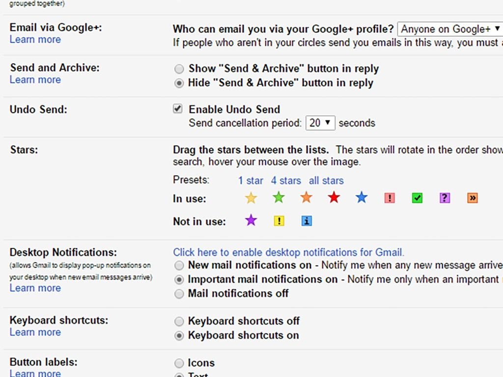 The Gmail settings screen, showing the options for stars.