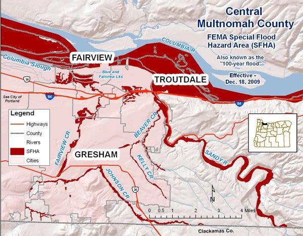 Flood risk map for Multnomah County Oregon