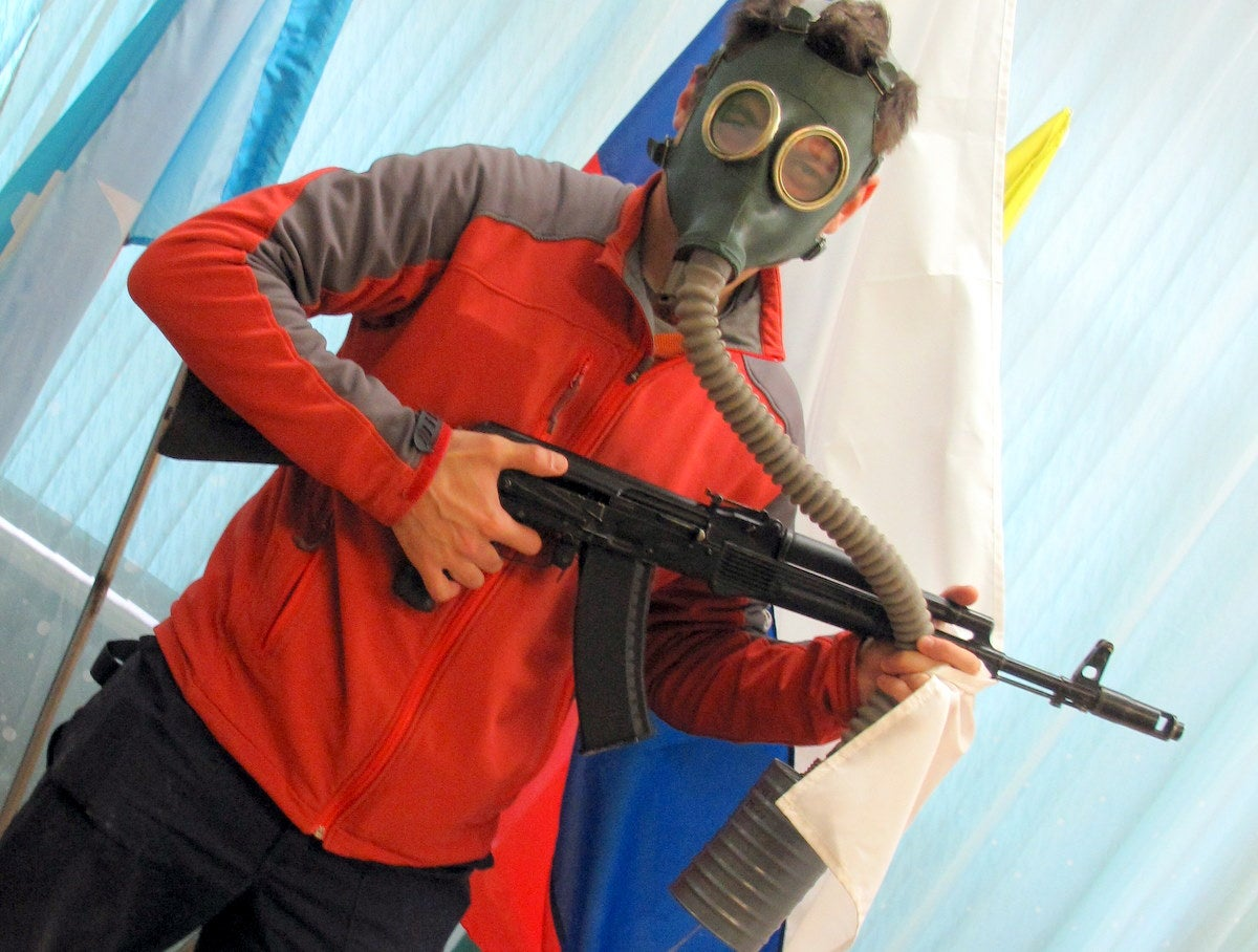 Man With Gas Mask And AK-74