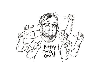 Who has seven thumbs and is up for a Philly Geek Award?