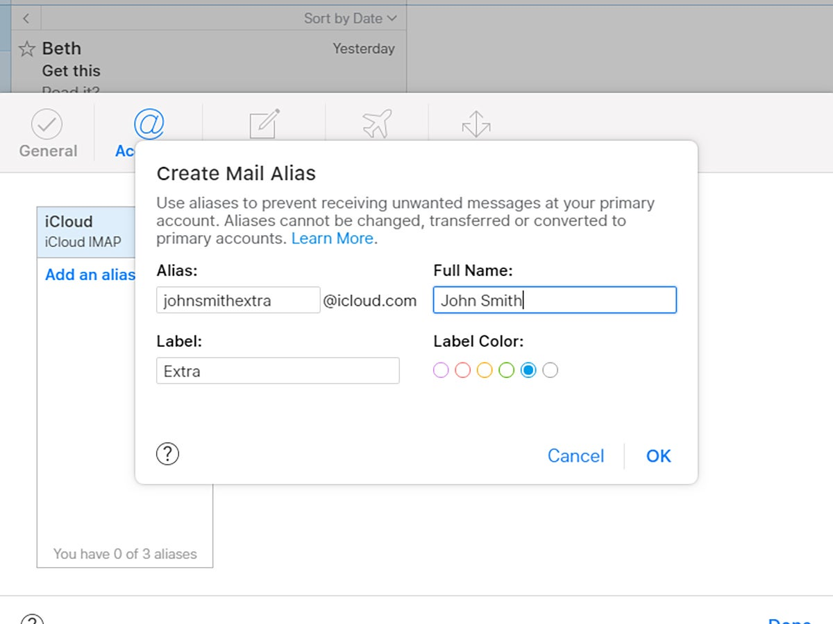 Creating an iCloud alias for Apple Mail.