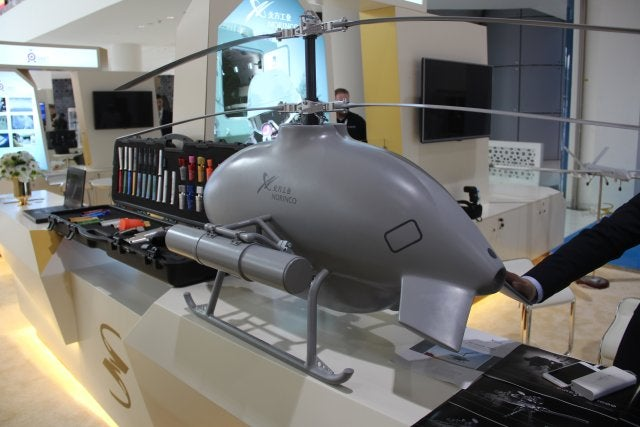 Sky Saker H300 NORINCO China helicopter drone on an exhibition in Dubai