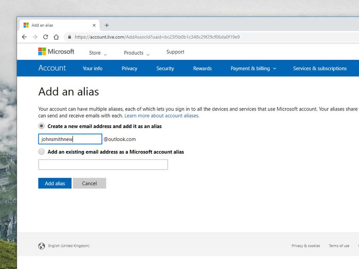 Adding an email alias to Microsoft Outlook.