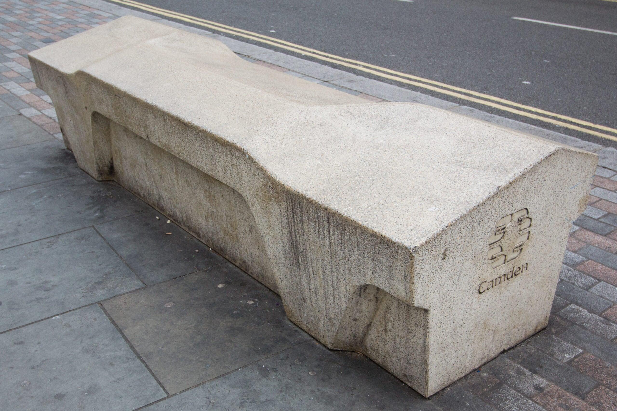 A concrete camden bench