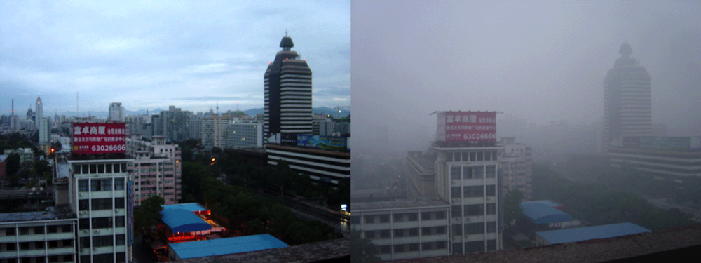 Beijing in August of 2005. The photo on left was taken after two days of rain. The photo on the right depicts a typical smoggy day.